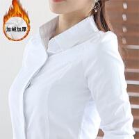 加绒白衬衫女长袖职业正装百搭韩范修身工装打底V领白色衬衣女OL