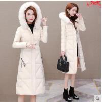 冬装新款修身棉袄派克服毛领厚棉衣外套白色羽绒棉服女中长款