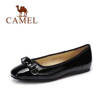 camel骆驼 女鞋 春季新款 蝴蝶结方头百搭浅口鞋舒适平底漆皮单鞋