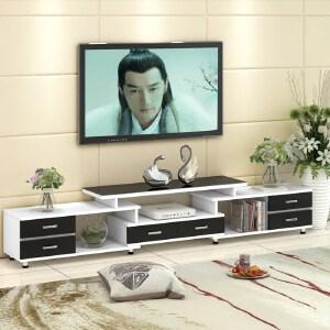 电视柜 钢化玻璃伸缩电视柜茶几组合简约现代欧式小户型客厅电视机柜 创意家具