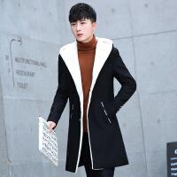 外套男秋冬季连帽夹克中长款大衣男装加绒加厚袄子韩版修身潮上衣