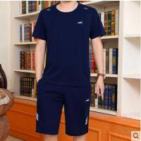 跑步健身爸爸装简约休闲中老年大码薄 男士运动套装短袖短裤运动服套装