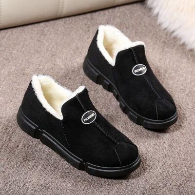 秋冬季雪地靴女短筒家居老人女毛毛鞋加绒中老年防滑加厚保暖棉鞋