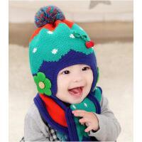 男女童帽子围巾两件套 宝宝韩版潮帽围巾两件套 儿童帽子宝宝帽子围巾两件套婴儿帽子围脖套装保暖毛线针织帽