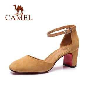 Camel/骆驼女鞋2017春夏新款 时尚优雅 方头复古粗跟单鞋女