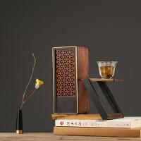红木质蓝牙音箱无线家用音响 创意家居装饰品花器办公桌茶几摆件