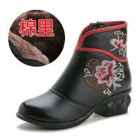 牛皮加绒民族风短靴软底中跟马丁靴中老年女靴妈妈棉靴复古靴