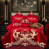 全棉婚庆四件套大红新婚高端中欧式红色结婚喜庆被子纯棉床上用品