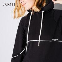 Amii[极简主义]秋装2017新款街头撞色边连帽长袖连衣裙女11744331