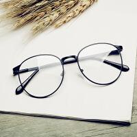 加大号圆脸眼镜框女韩版潮复古圆形平光镜架 0度镜片