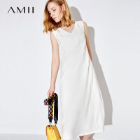 Amii[极简主义] 2017夏装新款修身V领镂空拉链无袖连衣裙11783201
