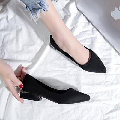 大码女鞋41-43单鞋女秋新款潮胖脚宽肥百搭低跟特大号高跟鞋40