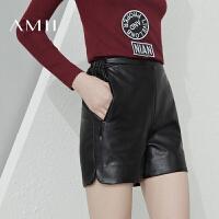 【1件7折/2件5折 再用券】AMII[极简主义]冬女装新黑色PU皮裤厚款大码休闲短裤11683557