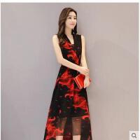 新款雪纺时尚印花连衣裙女修身显瘦无袖休闲大码裙子气质长裙支持礼品卡支付