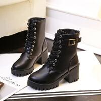 秋冬马丁靴女英伦风裸靴子女短靴韩版百搭粗跟加绒女靴高跟中筒靴 黑色