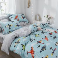 【人气】掌柜推荐!儿童床品三四件套纯棉卡通被套1.5米飞机恐龙床单全棉
