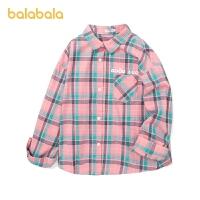 【2件6折价:83.9】巴拉巴拉童装女童衬衫长袖2021新款春装儿童衬衣大童格纹清新纯棉