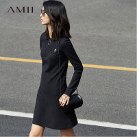 Amii极简港味复古纯棉短裙女秋2018新款小清新纯色时尚Polo连衣裙.