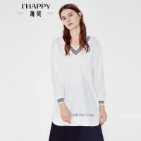 【满299减200】海贝2017秋季新款女装衬衫 V领撞色字母印花宽松长袖中长款小衫