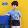 【满100减50】小猪佩奇正版童装男童夏装乔治猪蓝色纯棉短袖印花T恤