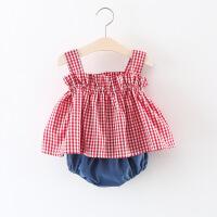 2018女童夏�b0女����格子�B衣裙1��合募颈承�+短�套�b2-3�q衣服 �t 11格�t上衣