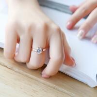 钻石戒指女生表白结婚求婚情侣指环婚戒六爪网红