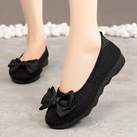 夏季老北京女鞋平底网鞋蝴蝶结休闲鞋黑色工作鞋妈妈鞋