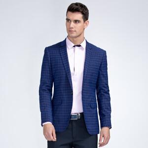 才子男装(TRIES)西服 男士2017年新款深蓝色简约格纹时尚修身百搭休闲西服上衣