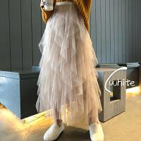 超火裙子秋冬新款韩版不规则蛋糕裙中长款网纱半身裙女冬