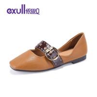 依思q2019新款俏丽典雅皮带金属扣方头优雅低跟单女鞋18150036-