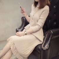 春装新款长款毛衣裙女秋宽松蕾丝下摆修身针织连衣裙半高领打底裙