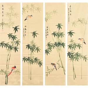 河南美术家协会会员许鲁花鸟四条屏gh05029