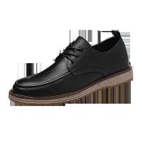 男鞋秋天新款男鞋子英伦黑色商务皮鞋男士韩版潮流增高休闲鞋百搭潮鞋