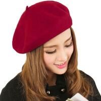 冬季毛呢贝雷帽女士冬天保暖帽子蓓蕾毛线帽