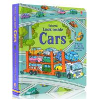 进口英文原版绘本 Usborne Look Inside Cars 看里面系列 纸板翻翻书 酷炫的车子 i汽车百科