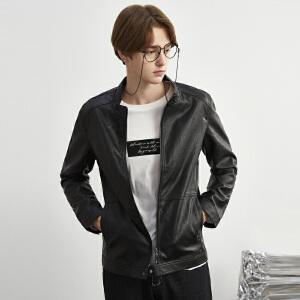 【2件3折价170.7元】唐狮春装新款外套男款潮酷黑色立领PU皮衣外套时尚上衣