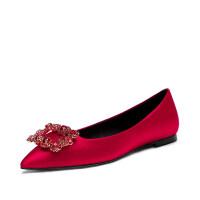 婚鞋女2019新款春季红色高跟鞋细跟芥末新娘鞋水晶秀禾中式结婚鞋