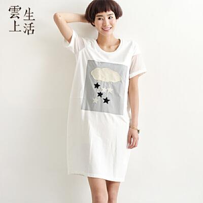 云上生活 文艺圆领纱网拼接贴布纯色棉质短袖宽松连衣裙L2683 白色