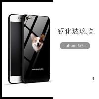 柯基iphone8plus情侣玻璃手机壳苹果X可爱狗狗Xs Max潮男女7P套Xr 苹果6/6s 大头柯基 玻璃壳
