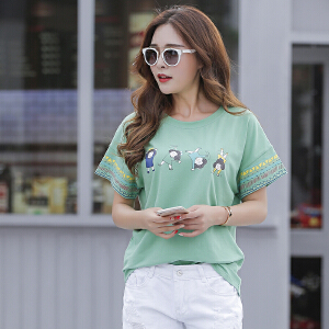 卡茗语夏季新款韩版宽松休闲短袖t恤女圆领纯棉蝙蝠袖体恤衫上衣潮