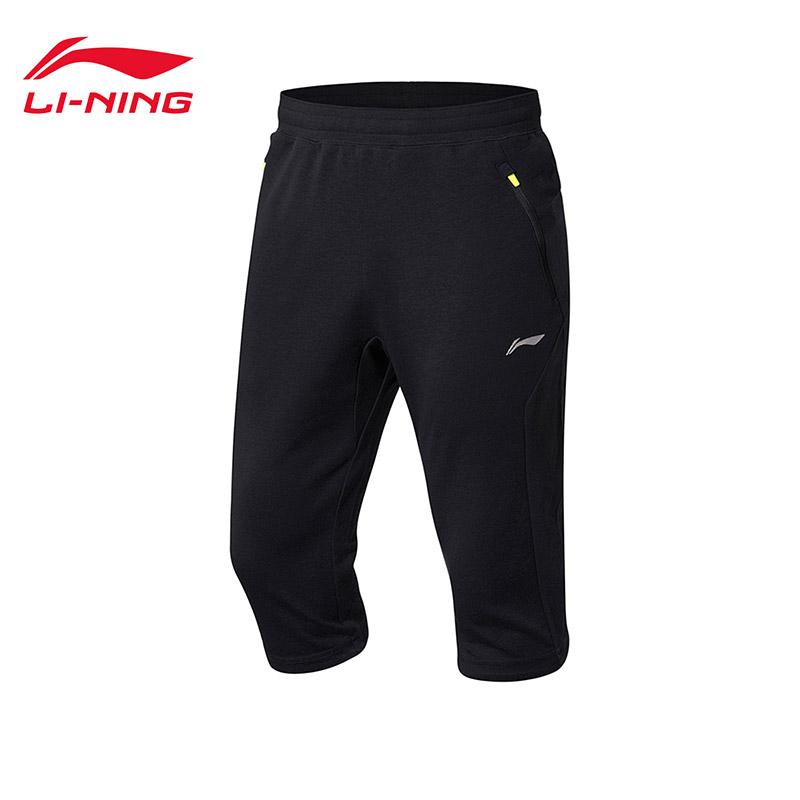 李宁七分卫裤男士训练系列针织短装夏季运动裤AKQM021