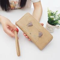 女生钱包长款钱包女韩版复古毛绒猫咪手机包女手腕带拉链钱包