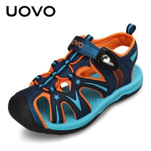 【每满100立减50】 UOVO夏季新款儿童凉鞋男童夏季透气 中大童包脚沙滩鞋防滑软底运动鞋 歌瑞尔