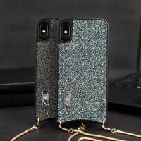 闪钻iphone xs max手机壳奢华个性苹果xr保护套挂链潮 【xsmax 6.5】银蓝闪钻