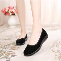 老北京布鞋女鞋平底单鞋浅口工作鞋女黑色跳舞女鞋软底妈妈鞋防滑
