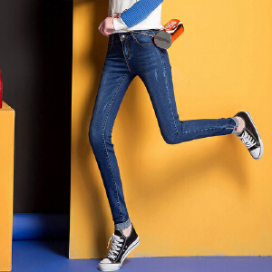 春夏秋季女式新款牛仔裤弹力小脚铅笔裤百搭潮流时尚WM1707