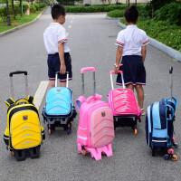 拉杆书包1-3-4-6年级男生儿童6-12周岁小学生女孩六轮防水拖7 黄色 两轮闪光 硬壳2