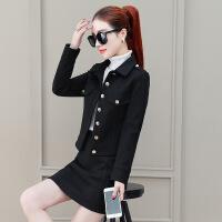 时髦套装裙子女秋冬2018新款韩版修身西装外套包臀裙连衣裙两件套
