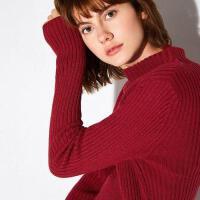Amii[极简主义]2017秋新品气质高领显瘦羊毛衫女上衣11762773
