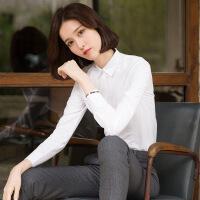 白色衬衫女长袖职业工装工作服2018秋冬新款加绒面试内搭衬衣正装